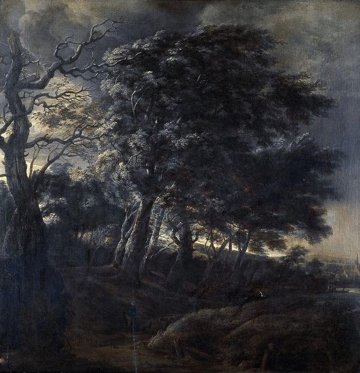 Windswept, dark landscape with figures (1640) by Simon Jacobsz de Vlieger