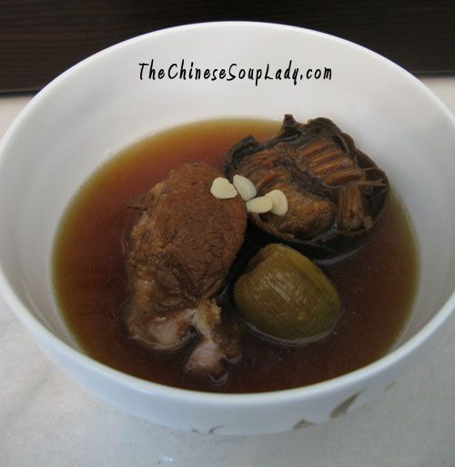 Soup Name:  Luo Han Guo and Apricot Kernals with Pork Shank Soup Traditional Chinese Name: 羅漢果南北杏豬展湯 (luóhàn guǒ nán běi xìng zhū zhǎn tāng) Introduction: This soup is excellent for assisting in co...