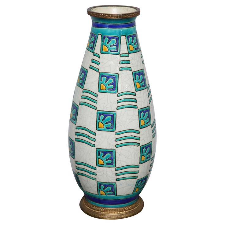 1stdibs | Boch Freres Vase With Geometric Decoration And Bronze Mounts