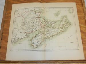 1883 Antique COLOR Map/NEW BRUNSWICK, NOVA SCOTIA, PRINCE EDWARD ISLAND, CANADA - this would be oober cool to have to do a wedding date sampler sort of thing on