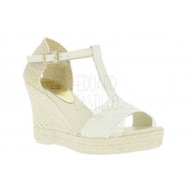 [Modelo YARA] alpargatas para novia con guipur y 9 cm #EduardCastilloBCN bridal espadrilles sandalias sandals boda wedding boho chic white blanco cuñas wedges