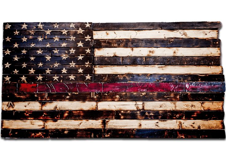 Wood Thin Red Line Flag (Firefighter Flag, 60x32)