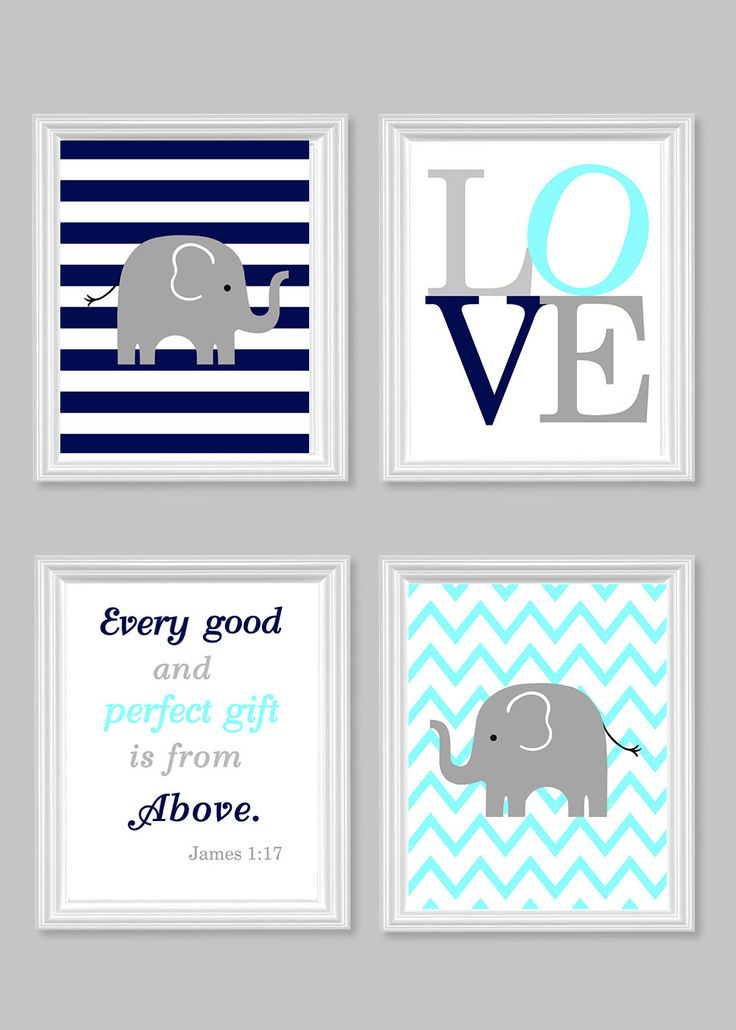 Nursery Art Elephant Baby Room Decor Aqua by SweetPeaNurseryArt