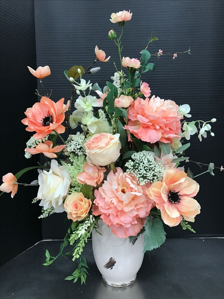 780 best michaels floral designers images on pinterest floral large peachy spring arrangement 2017 by andrea church flower arrangements silk mightylinksfo Images