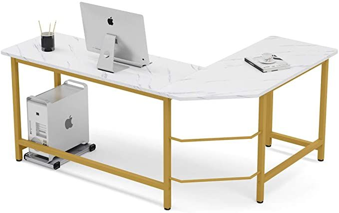 Amazon Com Tribesigns 55 Inch Computer Desk With 2 Tier Storage Shelves Faux Marble Modern Home In 2020 Office Table Design Home Office Desks Modern Home Office Desk