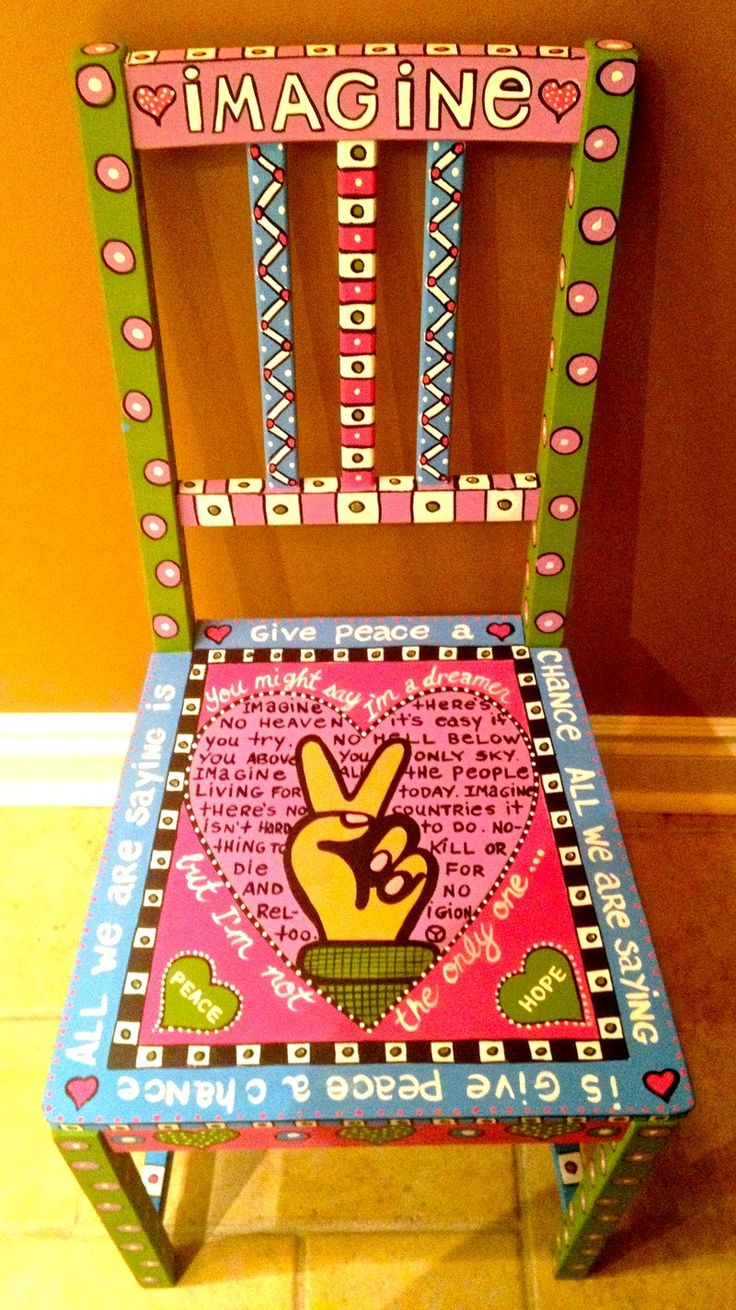Painted wooden high chair - John Lennon Imagine Alice Hinther Painted Chair