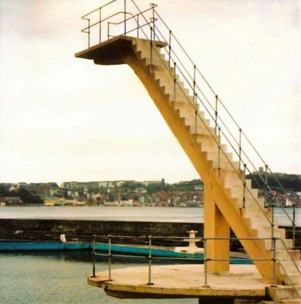 Scarborough South Bay pool steps. 1976, just before they were taken down. Such a shame.