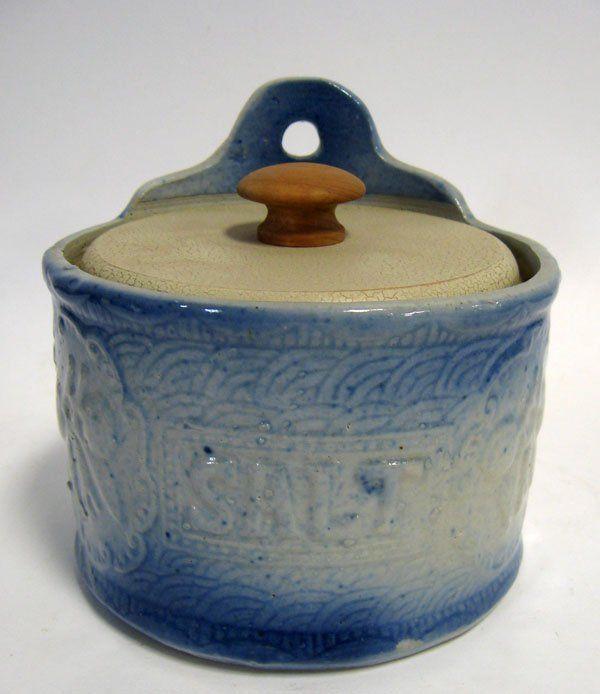 189 Blue and white salt-glazed stoneware salt box in u0027 on & 66 best Blue Design Pottery images on Pinterest | Antique crocks ...