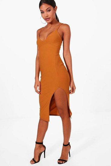 Jessica Plunge Neck Side Split Midi Dress by Boohoo. Dresses are the most-wanted wardrobe item for day-to-night dressing. From cool-tone whites to block brights, we've got the everyday skater dresses and party-ready bodycon styles that are perfect for transitioning from day to play. Minis,... #boohoo #dresses
