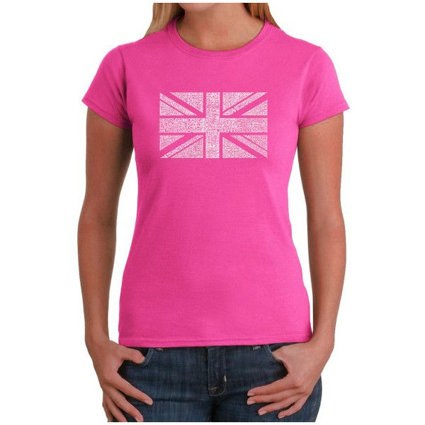 Women's Los Angeles Pop Art Women's T-Shirt - UNION JACK ($20) ❤ liked on Polyvore featuring tops, t-shirts, pink, tops & tees, uk flag t shirt, union jack t shirt, pink t shirt, los angeles pop art and union jack top