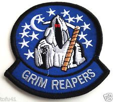 "GRIM REAPERS   US NAVY Military Veteran  Biker 3"" Rd. Patch PM0419 EE"