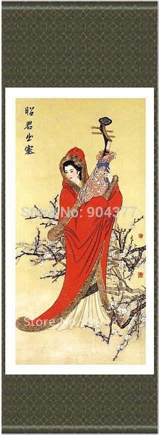 Classical Silk Hanging Scroll Art  Decor Beautiful Chinese Girl Paintings  size L 40 x 12 inch 1 piece Free shipping