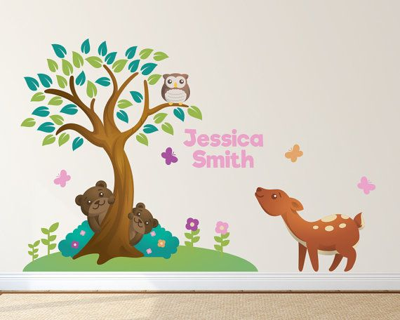 Animal Forest Tree Nursery Decals with Custom by LullaberryDecals