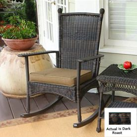 $230 at Lowes. Tortuga Outdoor Dark Roast All-Weather Wicker Cushioned Seat Outdoor Rocking Chair
