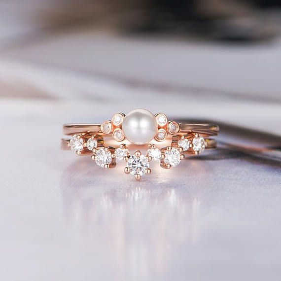 Akoya Pearl Engagement Ring Woman Rose Gold Bridal Set Curved Etsy Pearl Engagement Ring Diamond Wedding Bands White Gold Diamond Wedding Rings