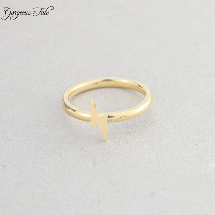 GORGEOUS TALE Anel De Formatura Minimalist Lightning Bolt Midi Ring Gold Color Silver Anillos Ring Women Men Jewelry Accessories