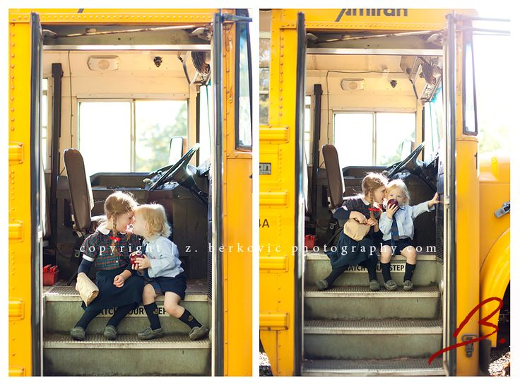 First day of school on the bus, kissing little sibling goodbye idea!