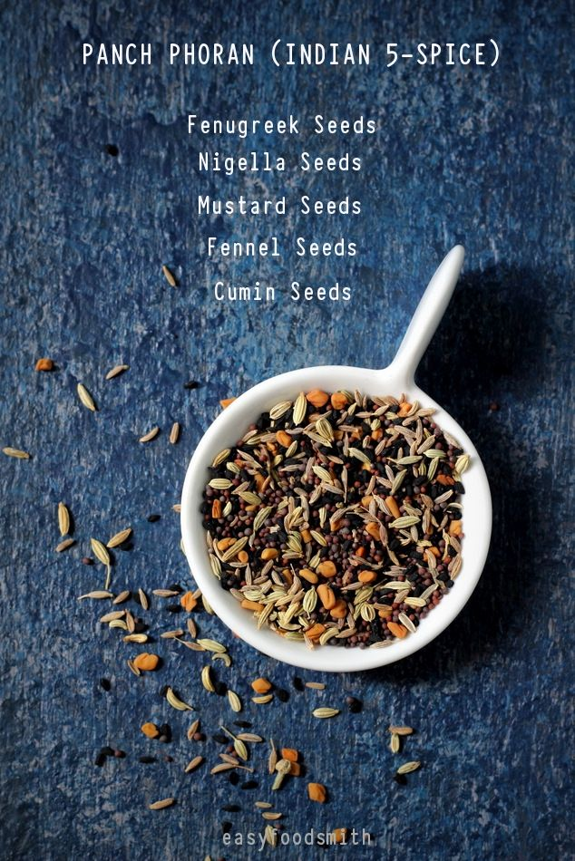 PANCH PHORAN or Indian 5-Spice Mix includes an equal amounts of fenugreek seeds, mustard seeds, nigella seeds, fennel seeds and cumin seeds. This spice mix is used in pickles, chutneys and curries.