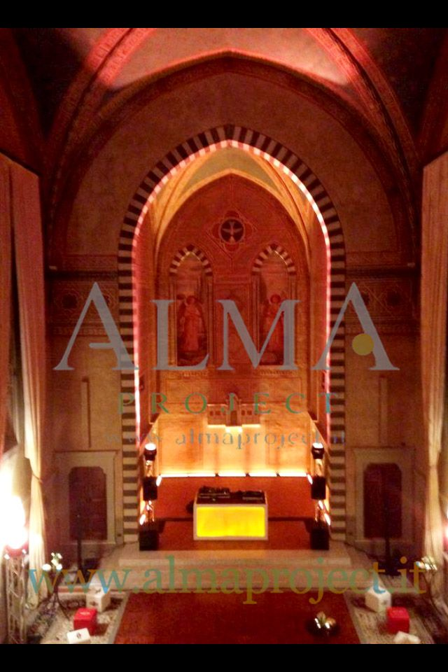 ALMA PROJECT @ Four Seasons Hotel - conventino - EVA console yellow lighted - amber uplights 2