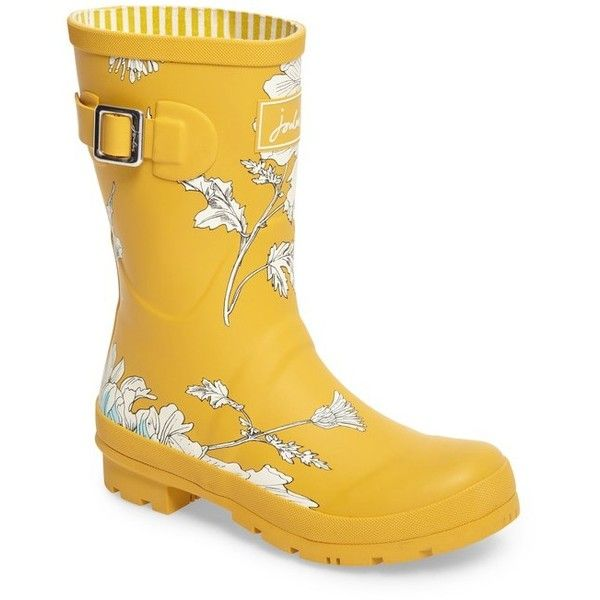Women's Joules 'Molly' Rain Boot (1.587.795 VND) ❤ liked on Polyvore featuring shoes, boots, antique gold, joules boots, blue rain boots, joules shoes, blue shoes and pattern boots