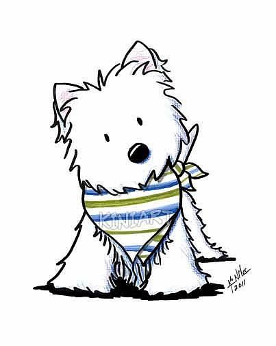 Westie In Scarf By Kiniart From Kiniart Westies That