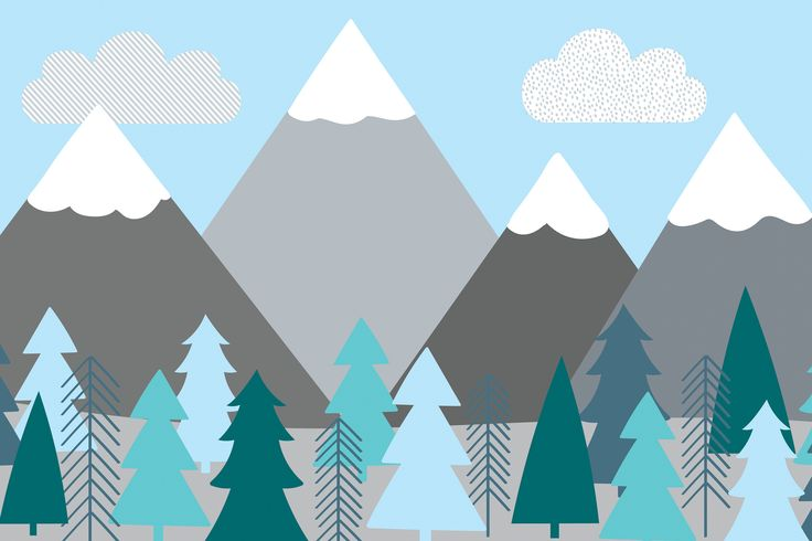 Create a fresh sense of openness in your child's bedroom with our exclusive Kids Mountains and Trees Wall Mural. This cute mural features a cartoon snow-top mountain scene with turquoise trees and a clear baby blue sky. The stylish design resembles a textured cut-and-paste picture and the image of the great outdoors will allow a...  Read more »