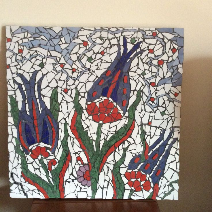 My first finished mosaic of Turkish Tulip design.
