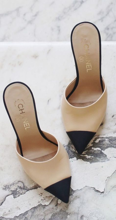 d1f53826b389 Chanel cap-toe mules - love these cream and black slide-on shoes ...