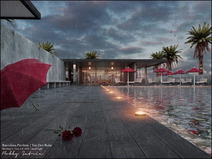 Barcelona Pavilion - Rain scene