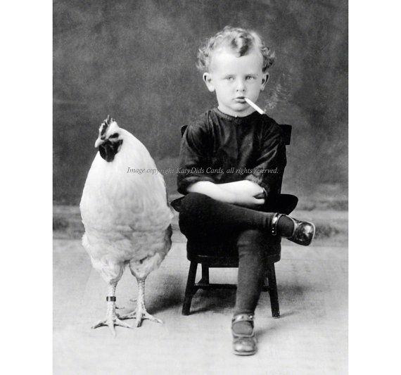 Chicken Boy Smokes a Cigarette Print Rooster by KatyDidsCards
