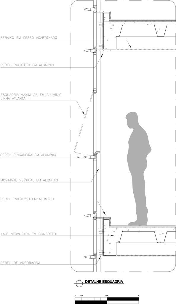 detalhe fachada de vidro