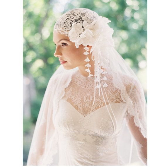 How pretty would this be over a white hijab? Bridal cap bridal veil silk tulle veil by EricaElizabethDesign