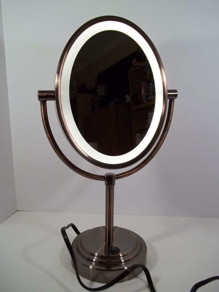 Conair Double-Sided Lighted Make-up Mirror Oiled-Bronze 7x Magnification  - NWOB #Conair