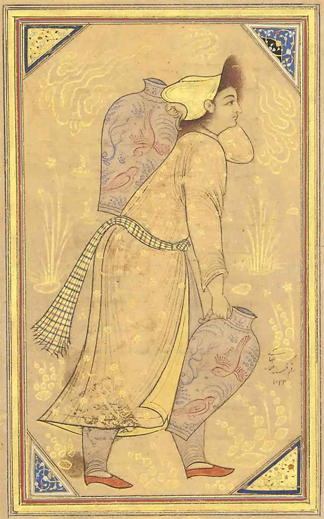 A Youth Carrying Jars Later Ascribtion To Reza 'abbasi, Qajar Iran, 19th Century
