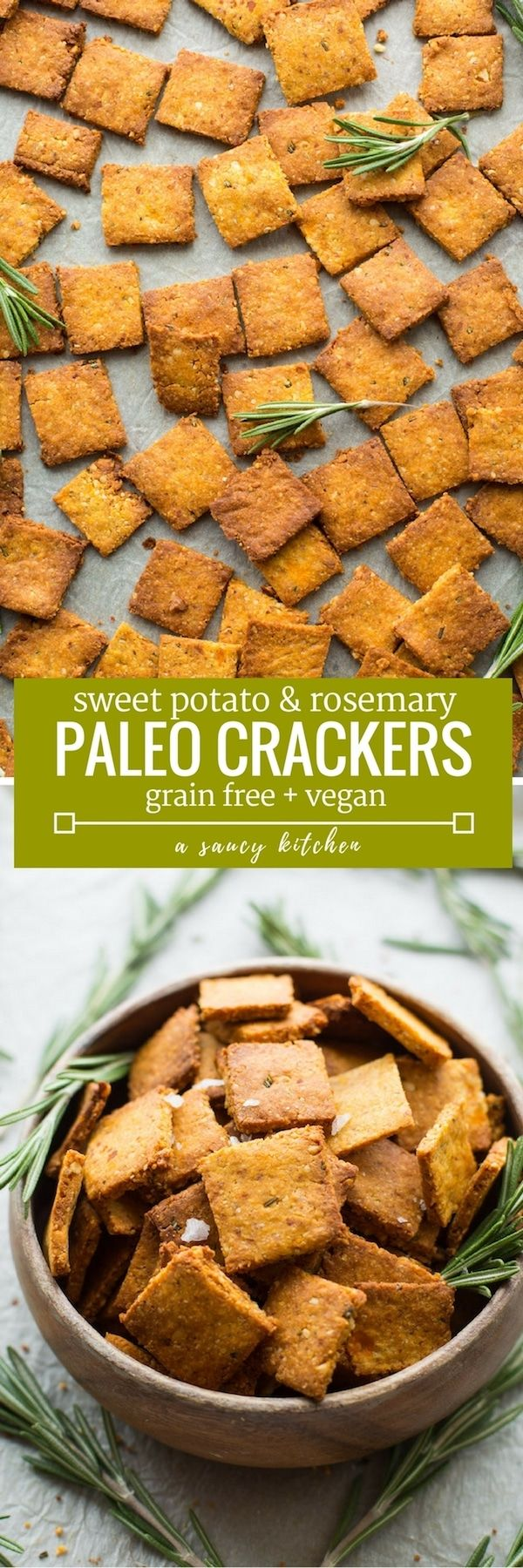 Complete your next snack board with these  Sweet Potato Paleo Crackers - only 7 ingredients needed & easy to make! |Grain Free + Vegan