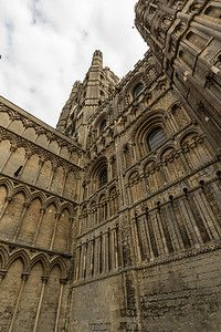 Ely city cathedral  Norman west tower architecture