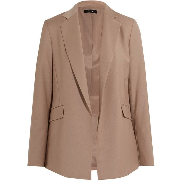Theory Sedeia stretch wool-blend blazer (12.430 RUB) ❤ liked on Polyvore featuring outerwear, jackets, blazers, light brown, brown slim fit blazer, open front jacket, slim jacket, open front blazer and slim fit blazer
