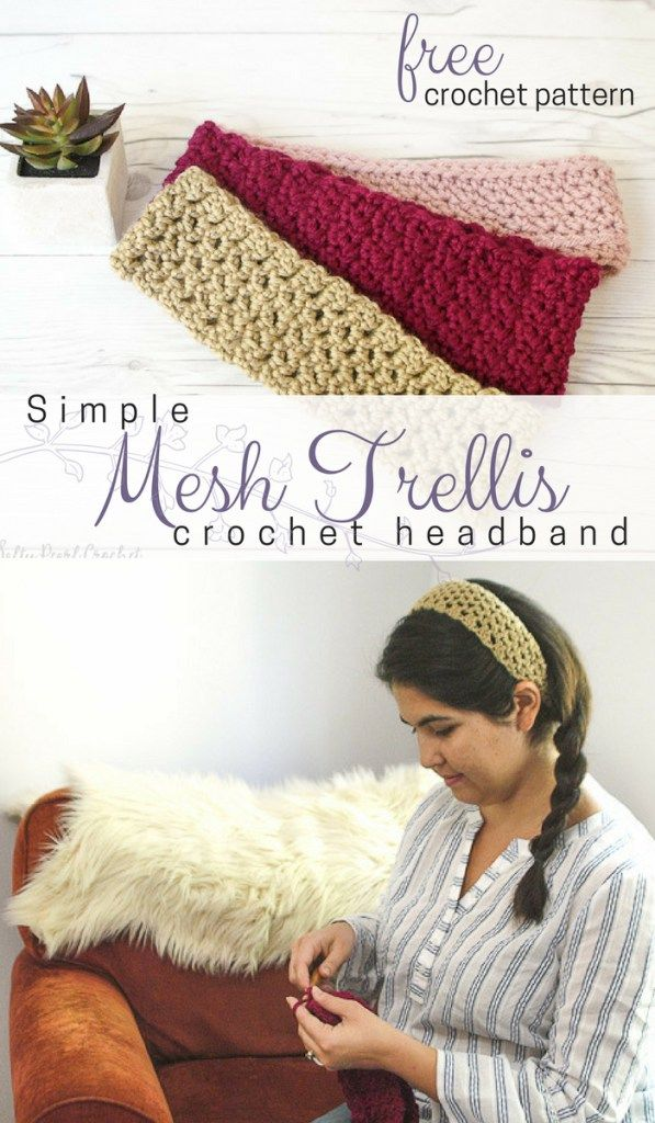 Simple crochet mesh stitch makes for the perfect headband! Even a beginner  crocheter can make this quick and easy crochet headband pattern. f1ad31eb8d8