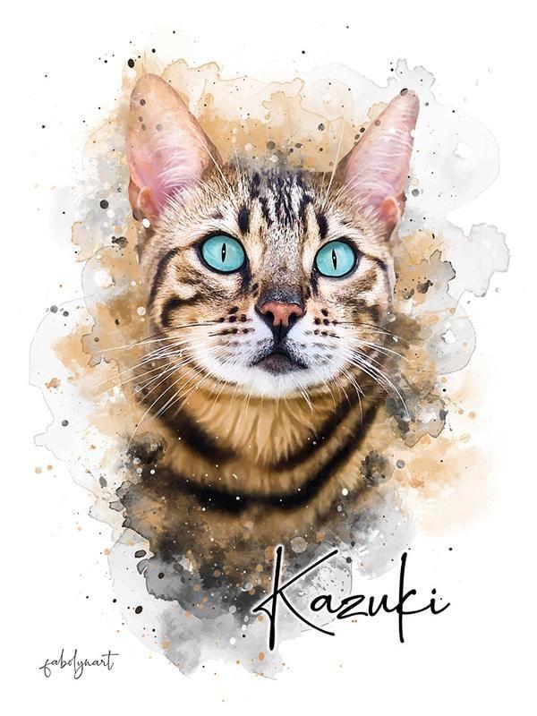 Simple Style Custom Pet Portrait In 2020 Cat Portrait Painting Custom Cat Portrait Watercolor Cat