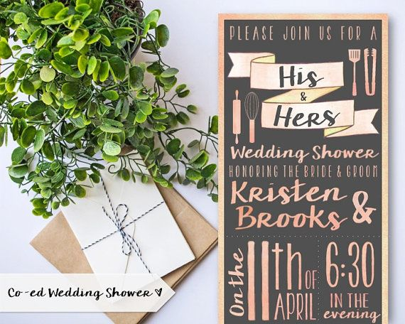 coed couples wedding shower invitation stock the kitchen shower bridal shower watercolor pastels chalkboard