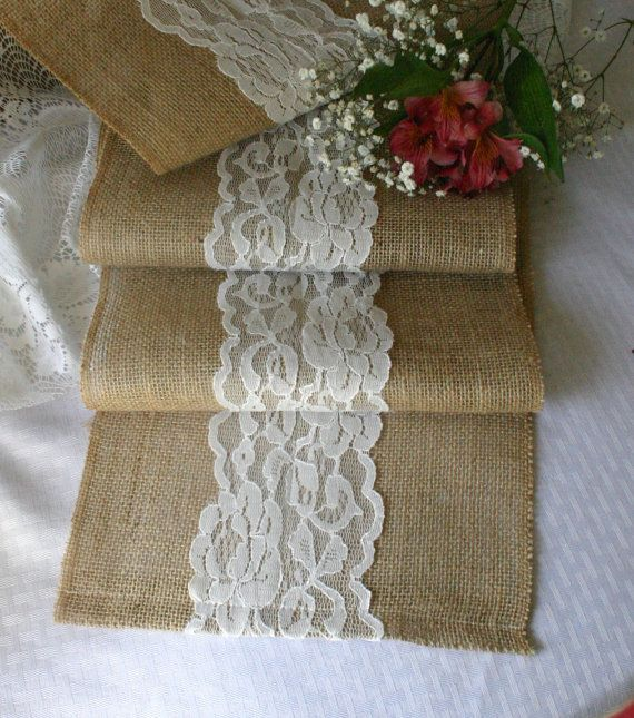 Burlap and lace wedding table runners burlap by Bannerbanquet, $22.00