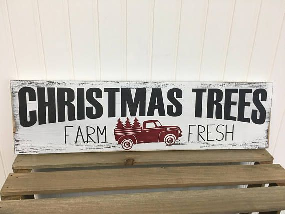 Farmhouse style Christmas Tree Farm wood sign  in colors of