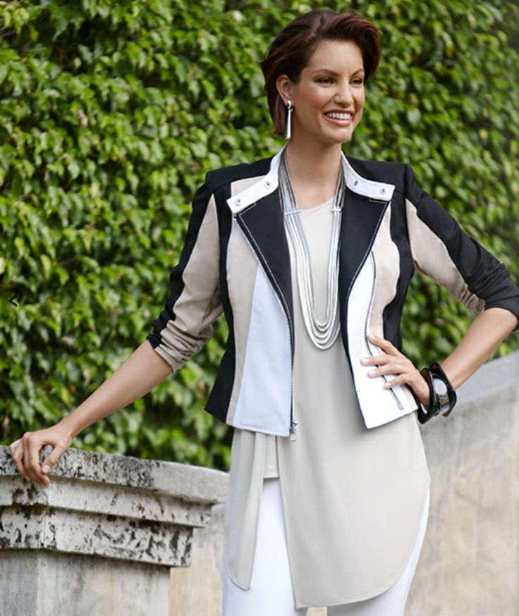 Go High-Low: Juxtapose a cropped color-block jacket with a long asymmetrical tank. #BlackLabel #chicos