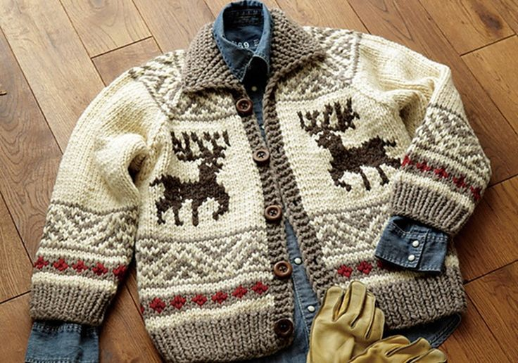 This lovely Cowichan knitted reindeer jacket takes its inspiration from the designs of the Cowichan people from Vancouver Island in British Columbia.