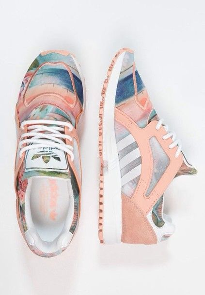 Shoes: adidas shoes, pastel, pastel sneakers, adiddas shoes sneakers pink peach, adidas, dusty pink, floral, pink, sneakers, green, blue, white shoes, tropical - Wheretoget