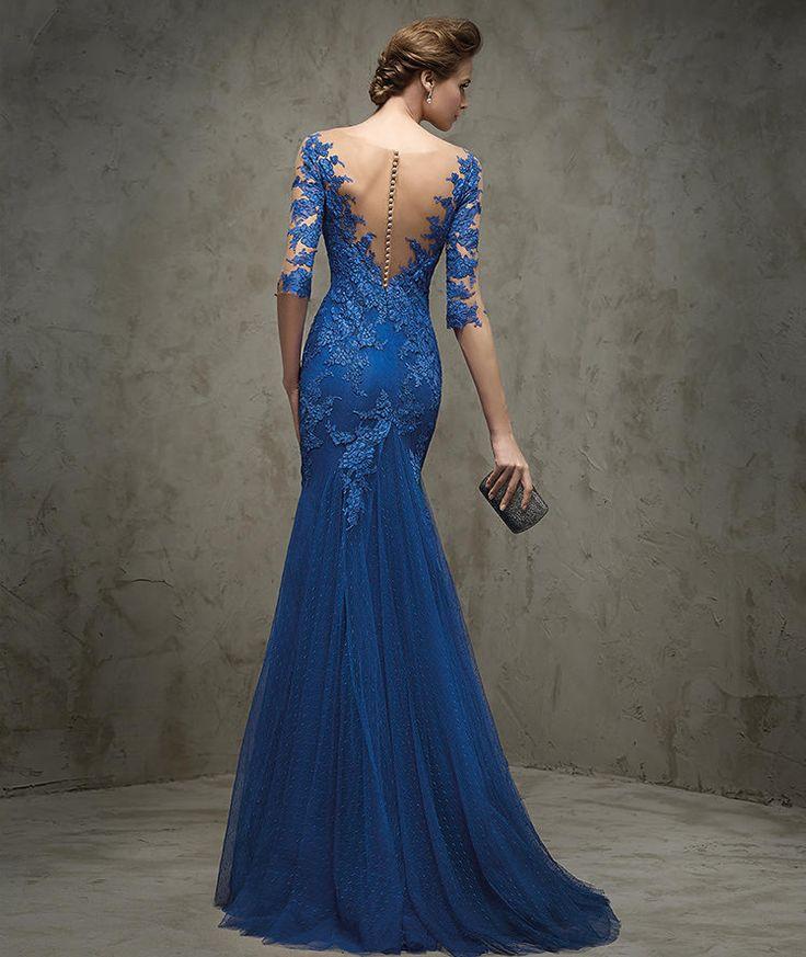 FRAENZE - Vestido de festa em renda, azul