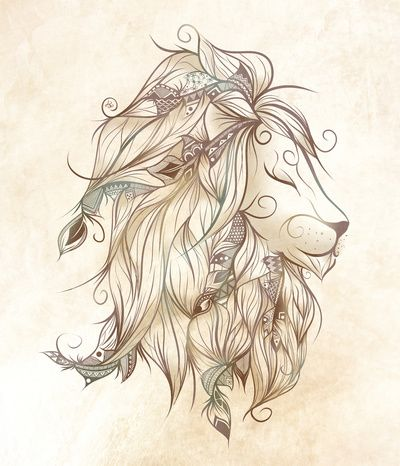 Poetic Lion Art Print Hard Times And The Feathers
