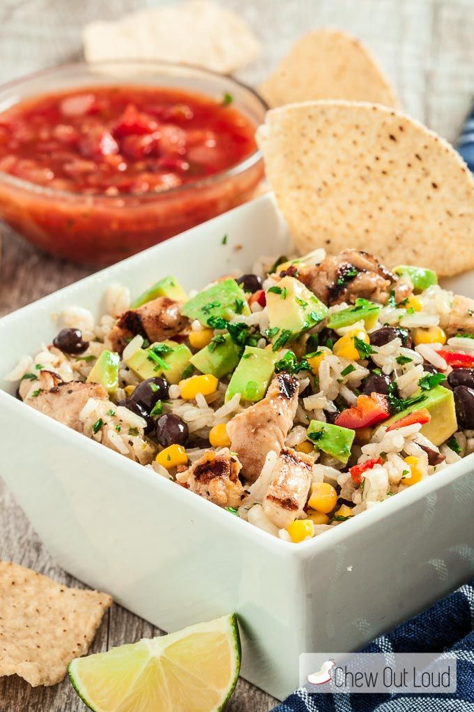This Mexican Rice Salad is chock full of goodies. Black beans, sweet corn, bell peppers, lime, cilantro, spices, and of course fluffy soft rice! Add grilled chicken to make it a hearty meal in one. Easy and delish!