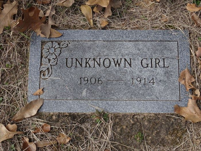 """malformalady: """" The grave of an """"Unknown Girl"""" is marked with a modern gray, granite headstone in historic Cottonwood Cemetery, Cottonwood, TX """""""