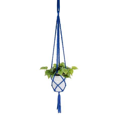 BRAID plant hanger, blue. . Plant hanger made of textile remnants. Suitable for a pot of approx. 12x12 cm.